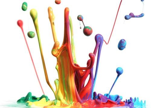 Multi coloured paint splash